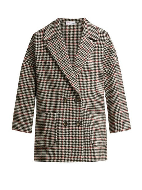 Redvalentino - Houndstooth Check Wool Blend Coat - Womens - Red Multi