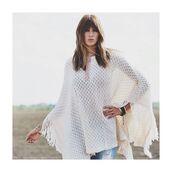 top,free vibrationz,poncho,white fringe poncho,white fringe top,crochet top,white top,bohemian top,bohemian poncho,elan