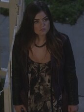 jacket,leather,aria montgomery,pretty little liars,lucy hale,tank top,diesel,top
