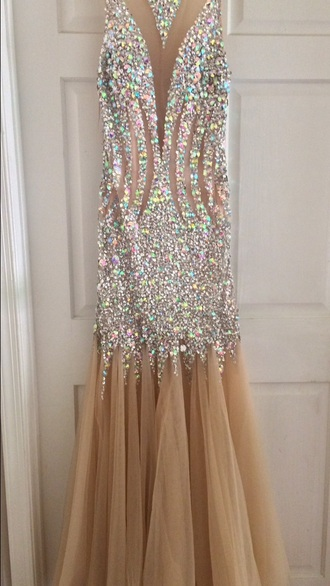dress prom dress prom gown prom fit and flare dress champagne dress champagne prom dress champagne cute dress cute hot sexy dress sexy gown prom beauty sequins sequin dress sequin prom dress mesh mesh dress studded rhinestones diamonds diamond dress formal dress formal homecoming dress jewels beautiful