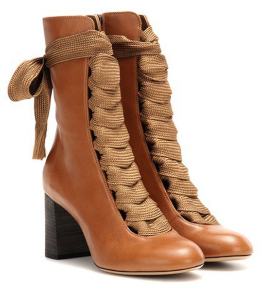 Chloe boots leather boots leather brown shoes