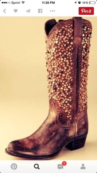 shoes cowgirl boots sequins brown country style