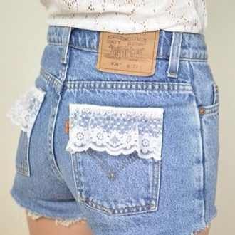 girl cute high waisted jeans fashion shorts lace