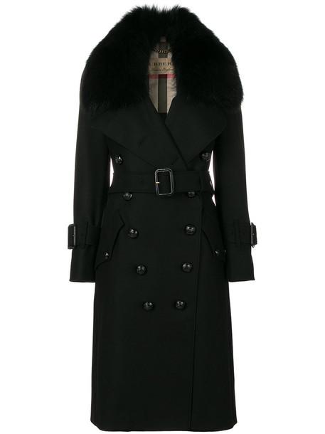 Burberry coat trench coat fur fox women cotton black