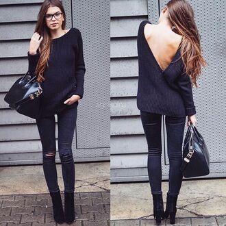 sweater black open back backless sweater