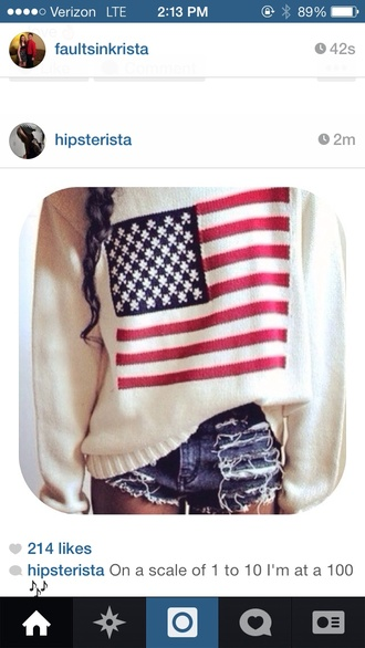 jacket sweater american flag american flag cream stripes stars