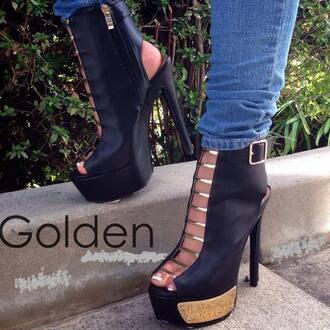 shoes leather booties leather ankle boots gold high heels black and gold buckle heels
