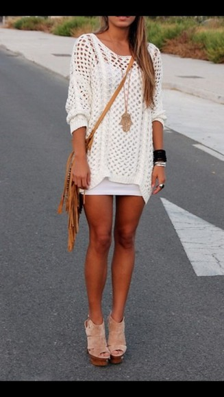 loose fit dress crochet casual dress