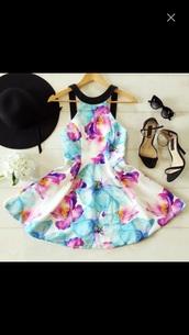 dress,hat,floral dress,summer dress,mini dress,white dress,black straps,colorful dress,floral,cute dress,cute,summer,skater dress,pink,blue,purple,white,flowers