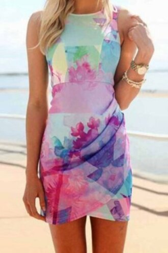 dress floral sexy cute beach summer style clothes colorful cool casual pattern fashion fashionista beautiful light sleeveless sleeveless dress patterned dress edgy asymmetrical round neck floral dress