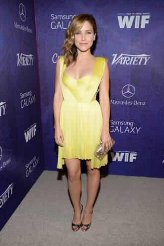 dress yellow dress sophia bush