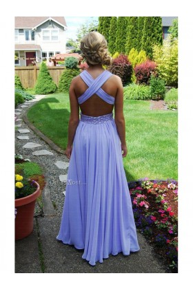 Length empire sleeveless prom dress