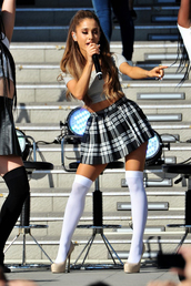 ariana grande,plaid skirt,skirt,knee high socks,socks