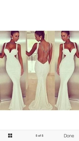dress white backless glittery dresss