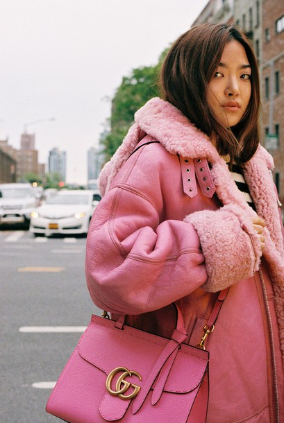 Coat: pink winter outfit, pink coat, shearling jacket, shearling ...