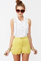 shorts,yellow,cute,blouse,white,shirt,lace