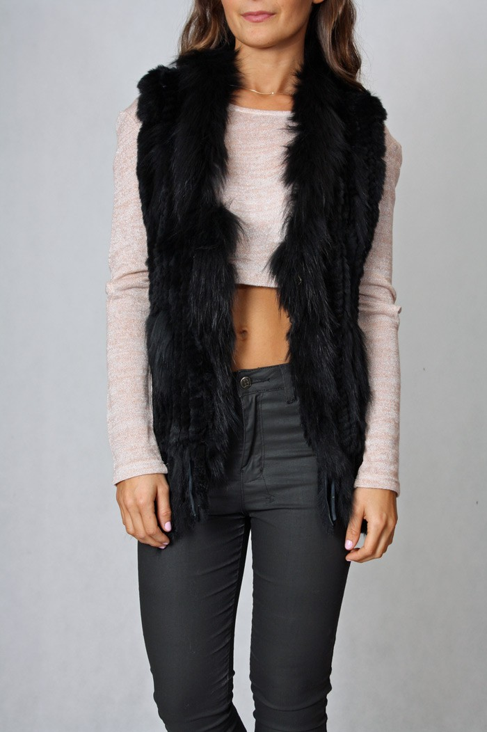 FUR VEST WITH TASSLES BLACK - Fox Maiden