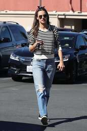 sweater,striped sweater,denim,alessandra ambrosio,model off-duty,streetstyle,fall outfits