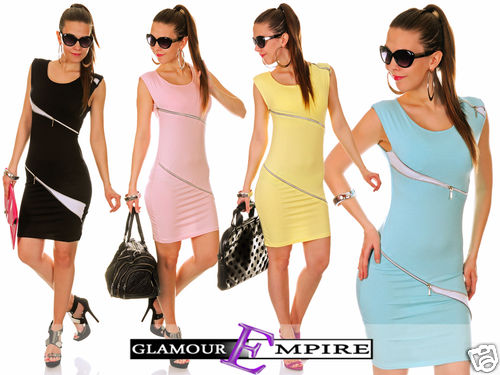 New Gorgeous Stretch Bodycon Sleeveless Mini Dress with Zips 24h Dispatch 733 | Amazing Shoes UK