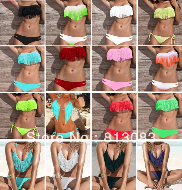 2013 Newest Fashion Sexy Women Bikini Swimsuit Padded Boho Fringe Tassel Swimwear 21 Colors S/M/L #P039-in Bikinis Set from Apparel & Accessories on Aliexpress.com