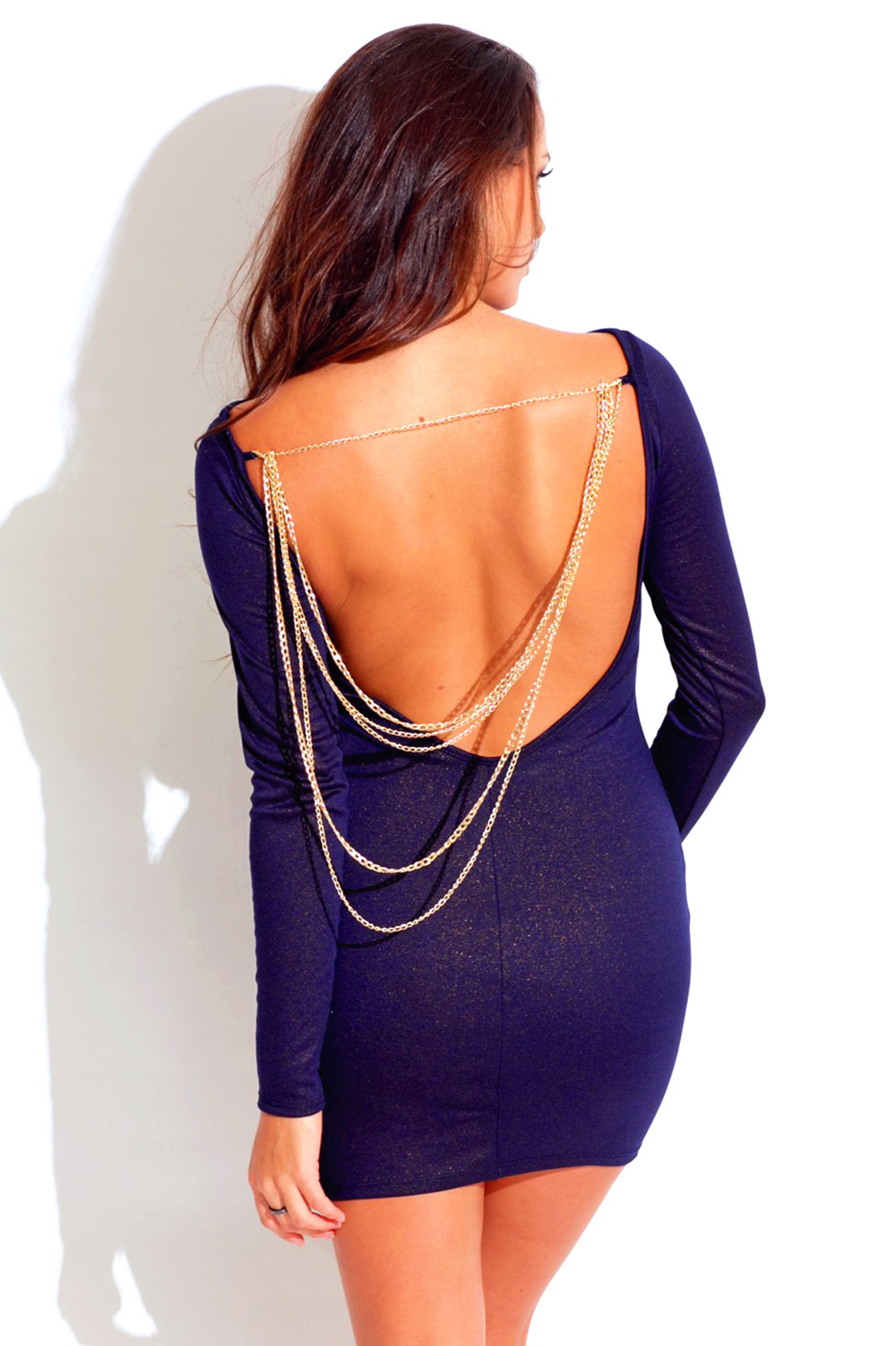 Midnight navy blue long sleeve backless bejeweled metallic fitted bodycon club mini dress