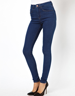 ASOS | ASOS Ridley High Waist Ultra Skinny Jeans in Rich Blue at ASOS