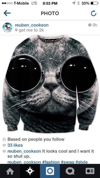 cats cats grey bigeyecats zumiez round sunglasses sweater