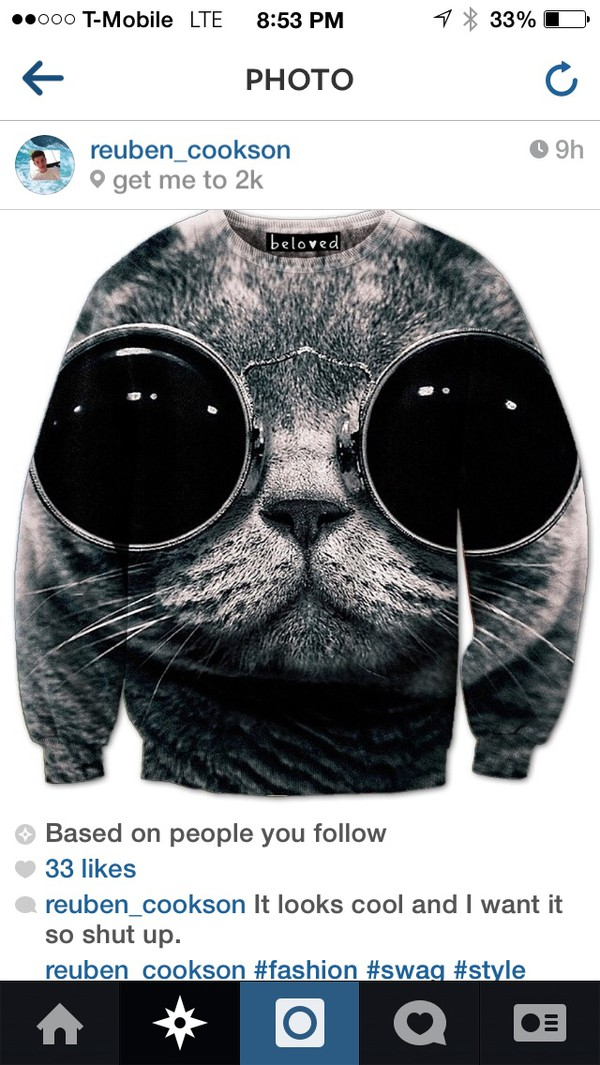 cats cats grey bigeyecats zumiez round sunglasses sweater