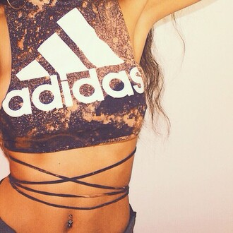 sexy hot adidas crop tops tie dye acid wash