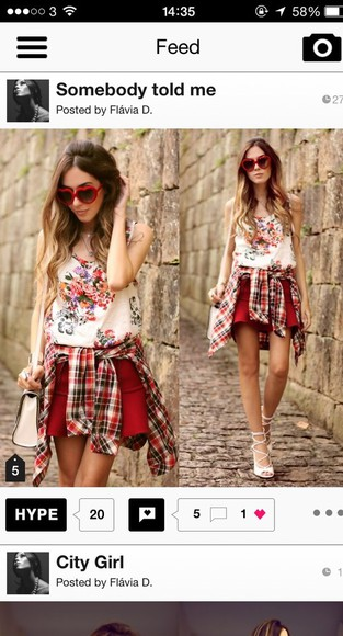 clothes fashion lookbook blouse bag shoes t-shirt sunglasses skirt shorts red checked shirt sandals gladiator sandals white summer casual look cute casual
