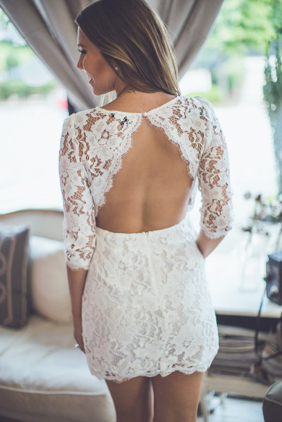 dress bridal white lace cocktail cocktail dress formal fancy dressy white dress ivory detail lace detail delicate delicate lace open-back open back open backed open back dresses detailed entourage boutique open backed dress