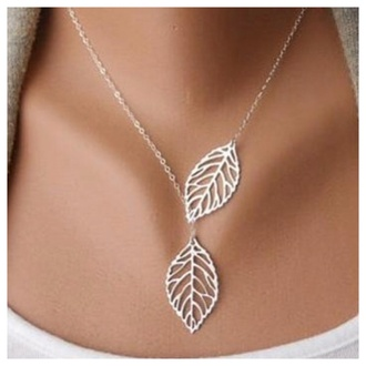 jewels necklace leaf dainty silver