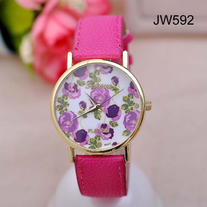 JW595 Unisex Geneva Watch Women Floral Print Watches Men Sports Watch Blue PU Leather Dress Watch relogio Clock-in Wristwatches from Watches on Aliexpress.com | Alibaba Group