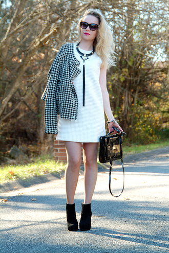 jacket short dress chain necklace shoes ankle boots houndstooth black white suede boots platform high heels platform boots blogger