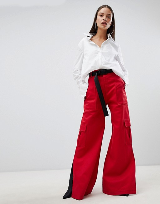 The Ragged Priest wide leg pants with belt at asos.com