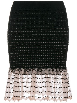 skirt knit women black silk