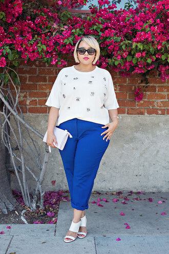 pants plus size interview outfit curvy plus size plus size top blue pants white top embellished sandals sandal heels high heel sandals white sandals bag white bag office outfits work outfits sunglasses spring outfits