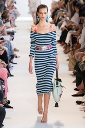dress,stripes,striped dress,NY Fashion Week 2016,runway,sandals,model,earrings,belt,altuzarra,spring outfits,midi dress,off the shoulder,off the shoulder dress