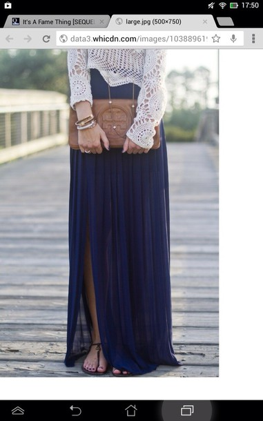 skirt blue maxi skirt sweater