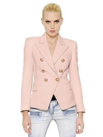 jacket double breasted light pink light pink