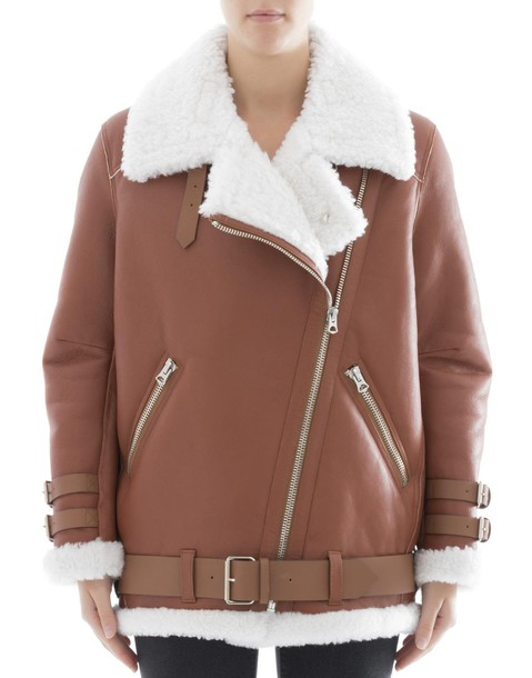 Acne Studios jacket leather jacket brown leather jacket leather brown