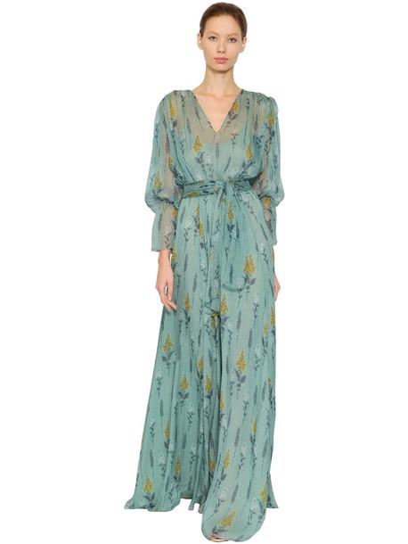 LUISA BECCARIA Floral Printed Silk Chiffon Dress in blue