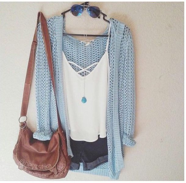 Shirt: white shirt, bag, cardigan, light blue, fall outfits, fall ...