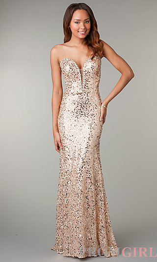 Prom Dresses, Celebrity Dresses, Sexy Evening Gowns - PromGirl: Floor Length Sequin Evening Gown