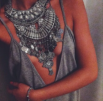 top silver necklace statement necklace boho jewelry bohemian jewels necklace chuncky deep cut front spaghetti strap top girl gypsy jewelry boho grey v neck dress blouse shirt summer grey top silver tank top tribal necklace gold grey deep v neck lowcut