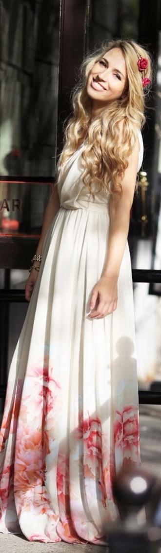 dress maxi dress maxi dress long white simple floral simple dress prom dress white dress floral dress roses