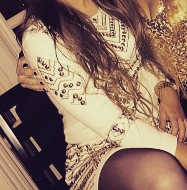 dress white diamond studded dresss