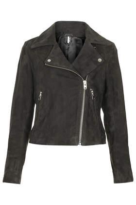 Suede boxy biker jacket
