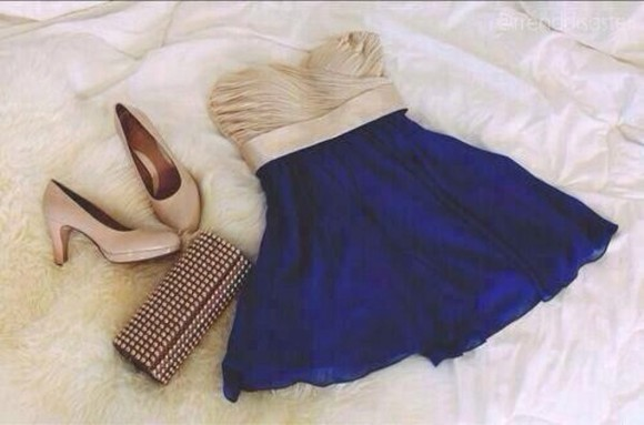 bandeau blue dress skater skater dress blue skirt beige dress ruffle bandeau top