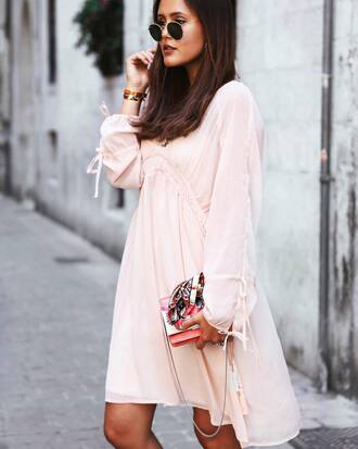 dress tumblr mini dress pink dress long sleeves long sleeve dress bag round sunglasses sunglasses